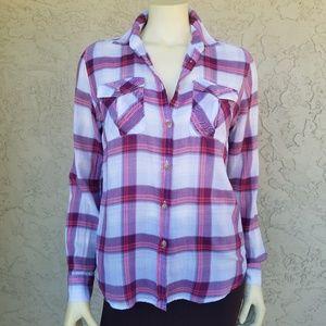 American Eagle Red Plaid Cotton Button Down Shirt